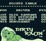 Race Days Game Boy Dirty Racing: The points table. I'm still last.
