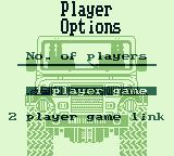 Race Days Game Boy 4 Wheel Drive: Player Options menu