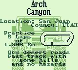 Race Days Game Boy 4 Wheel Drive: I chose Arch Canyon.