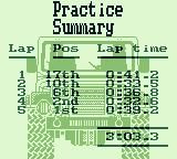Race Days Game Boy 4 Wheel Drive: Here is the practice summary.