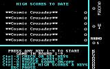 Cosmic Crusader PC Booter High Score and Keyboard Info