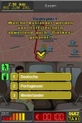 "Quiz Taxi Nintendo DS Question: ""Which group of foreigners is deprecatingly called ""Piefkes"" by the Austrians?"" We have to answer before the time in the lower left corner runs up."