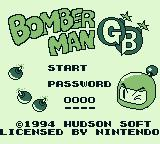Bomberman GB Game Boy Title screen and main menu