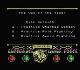 The Way of the Tiger MSX Title screen and main menu