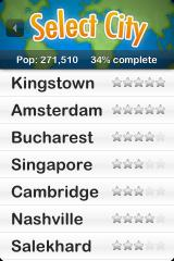 Textropolis iPhone List of cities