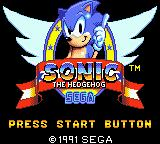 "Sonic the Hedgehog Game Gear Title screen with the usual ""Press start button"" !"