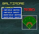 Tecmo Super Baseball SNES Choosing a defensive position for the fielders.