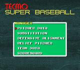 Tecmo Super Baseball SNES In-game options while pitching
