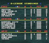 Tecmo Super Baseball SNES League standings