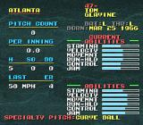 Tecmo Super Baseball SNES Info on the pitcher during the game