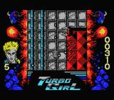 Turbo Girl MSX Shooting at the enemy.