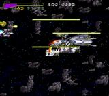 Chō Jikū Yōsai Macross: Scrambled Valkyrie SNES Fighting a big ship