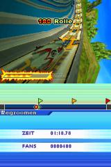 Speed Racer: The Videogame Nintendo DS Steep banks allow stunts like this 180 degrees roll.