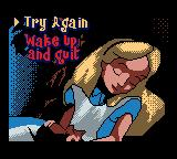 Walt Disney's Alice in Wonderland  Game Boy Color Continue screen