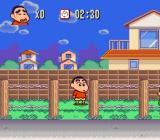 Crayon Shin-chan: Arashi o Yobu Enji SNES Walking on some grass