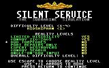 Silent Service DOS Scenario options