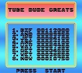 Toobin' Game Boy Color The high scores
