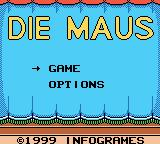 Die Maus Game Boy Color Title screen and main menu