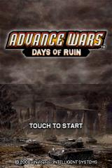 Advance Wars: Days of Ruin Nintendo DS The title screen
