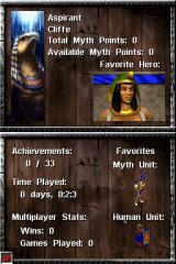 Age of Empires: Mythologies Nintendo DS The game tracks your statistics, which can be viewed under your profile.