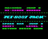 Jet-Boot Jack Electron Main title and options screen