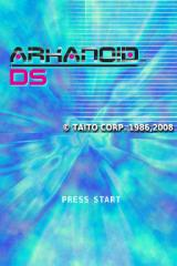 Arkanoid DS Nintendo DS The title screen.