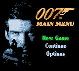 007: The World is Not Enough Game Boy Color Main menu screen