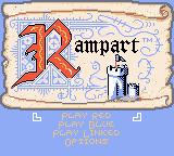 Rampart Game Boy Color Title screen and main menu
