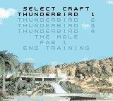 Thunderbirds Game Boy Color The list of training missions.