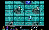 Stargoose Warrior DOS Surrounded by gun turrets; at the top of the screen you can see a tunnel entrance...