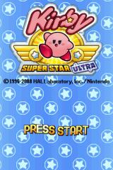 Kirby Super Star Ultra Nintendo DS The title screen.