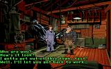 Full Throttle DOS Talking to Maureen. Dialogue choices are less prominent here than in most other LucasArts adventures