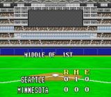 Super Bases Loaded 3: License to Steal SNES The box score for the middle of the inning