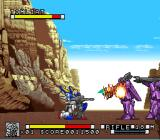 Kidō Senshi V Gundam SNES Cleaning up Zanscare troops in Death Valley.