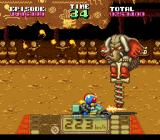 Kamen Rider SD: Shutsugeki!! Rider Machine SNES Demonstrating the machinegun on a boss.
