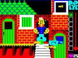 Popeye ZX Spectrum This is the start of the game. that bird flies in front of us. The status bar shows 1 tin of spinach, or one life. The characters are much bigger than usual as you can see.