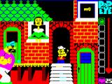 Popeye ZX Spectrum Look! Popeye can go behind things, in this case behind the steps which is not a lot of use but still looks cool. Bluto takes a life off Popeye whenever they meet so avoid him