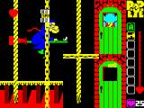Popeye ZX Spectrum Popeye's behind the door. He can get off that rope and with the right key open the door to collect more hearts and spinach