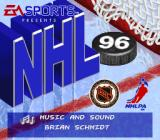 NHL 96 SNES Title screen with scrolling credits in a box at the bottom