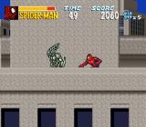 The Amazing Spider-Man: Lethal Foes SNES Sneaking up on a Spider-Slayer.