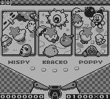 Kirby's Pinball Land Game Boy Selecting the table