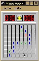 Microsoft Windows 98/98SE (included games) Windows A Minesweeper game in progress (Beginner level)