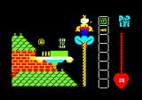 Popeye Amstrad CPC I climbed a rope. There is another can of spinach and a coin. There is also a flying saucer.