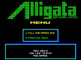 Pub Games ZX Spectrum First menu screen where either a 'Full Pub Run' or practice mode is selected.