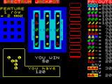 Jackpot ZX Spectrum A win. Two green things on reels 1 & 2. 
