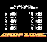 Dropzone Game Boy Color Hall of Fame (high scores)