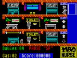 Mad Nurse ZX Spectrum In game 1: Babies crawling on all three levels, the danger on the top level are the electrical sockets. There are also bottles to be collected