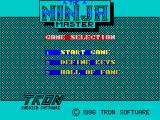 Ninja Master ZX Spectrum Menu screen 1; Annoyingly the game won't accept input until the music has finished playing