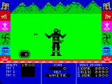 Ninja Master ZX Spectrum Mini game 1: arrows come from both sides, high or low, at varying speeds. You must time your block carefully, too soon and you miss