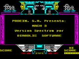 Mach 3 ZX Spectrum Start of game screen. You are also returned here when each game ends